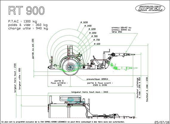 plan remorque dérouleuse RT 900