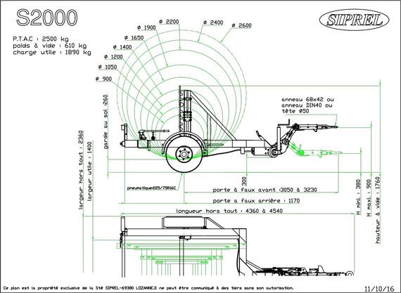 plan remorque dérouleuse S 2000